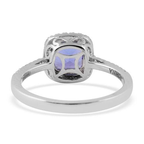 ILIANA 18K White Gold AAA Tanzanite (Cush), Diamond (SI/G-H) Ring 1.52 Ct.