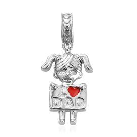Platinum Overlay Sterling Silver I Love Dad Enamelled Pendant