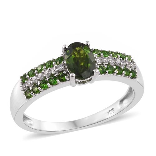 1.25 Ct Russian Diopside and Natural Cambodian Zircon Ring in Platinum Plated Silver