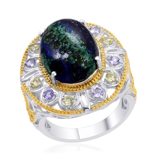 Designer Collection Azurite (Ovl 9.26 Ct), Hebei Peridot and Tanzanite Ring in 14K YG and Platinum Overlay Sterling Silver 10.260 Ct.