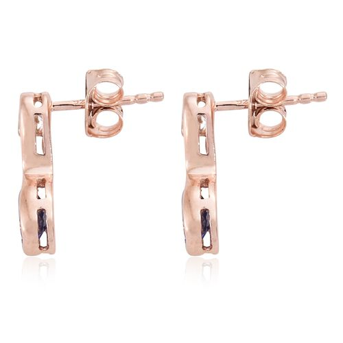 Tanzanite, White Topaz 1.250 Ct Silver Infinity Earrings (with Push Back) in Rose Gold Overlay (with Push Back)
