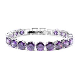 Simulated Amethyst Bracelet (Size 8 with Extender) in Silver Tone
