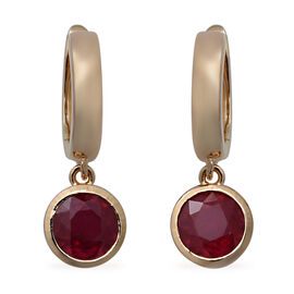 African Ruby Earrings (with Clasp) in Yellow Gold Overlay Sterling Silver 2.50 Ct.