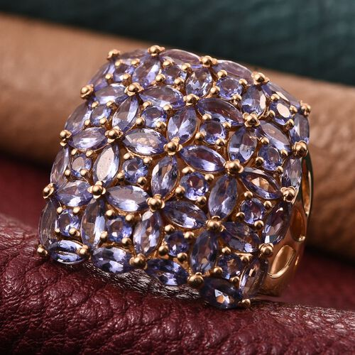 Stefy Tanzanite (Mrq), Pink Sapphire Floral Ring in 14K Gold Overlay Sterling Silver 6.020 Ct.
