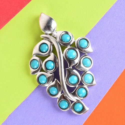 Arizona Sleeping Beauty Turquoise Leaf Design Pendant in Platinum Overlay Sterling Silver 2.00 Ct, Silver wt 5.80 Gms