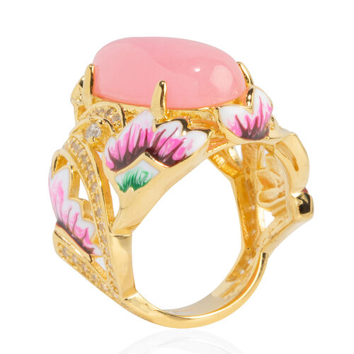 Pink Jade (Ovl 20x10 mm), Natural Cambodian White Zircon Ring in Yellow Gold Overlay with Enameling Sterling Silver 11.710 Ct, Silver wt 8.46 Gms.