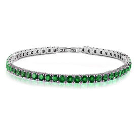 One Time Mega Deal- Simulated Emerald (Rnd 4mm, 10 Ct Equivalent) Tennis Bracelet (Size 8) in Silver