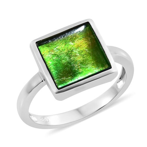AA Canadian Ammolite (Sqr 10mm) Solitaire Ring in Platinum Overlay Sterling Silver 3.000 Ct.