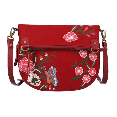 Leather and Canvas Floral Embroidered Crossbody Bag (Size 27x1.25x11.5cm) with Adjustable Shoulder S
