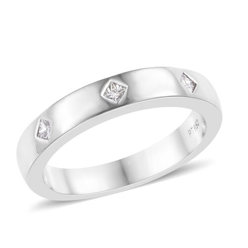RHAPSODY 950 Platinum IGI CERTIFIED Diamond (Sqr) (VS / E-F) Band Ring 0.150 Ct. Platinum wt. 5.50 G