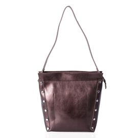 Close Out Deal 100% Genuine Leather Metallic Bronze Shoulder Bag (Size 30x28x21x12 Cm)