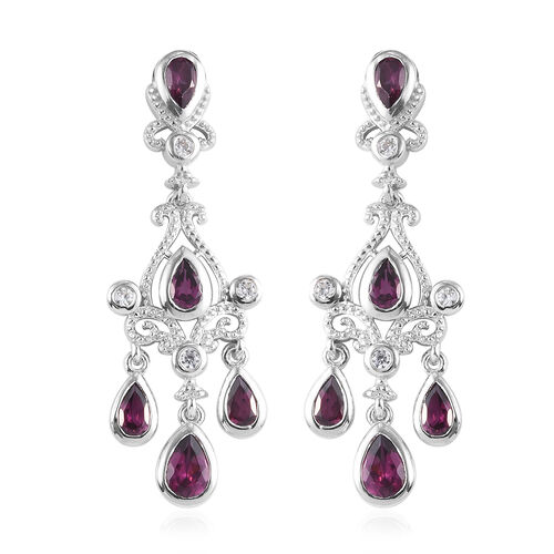 Rhodolite Garnet and Natural Cambodian Zircon Dangle Earrings (with Push Back) in Platinum Overlay S