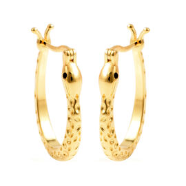 RACHEL GALLEY - Boi Ploi Black Spinel Hoop Earrings (with Clasp) in Yellow Gold Overlay Sterling Sil