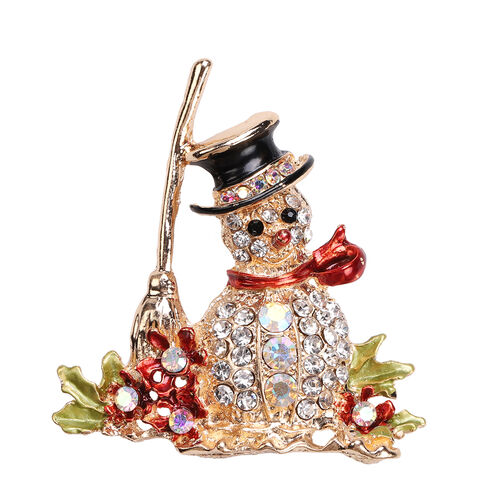 Multi Colour Austrian Crystal Enamelled Christmas Theme Snowman Brooch
