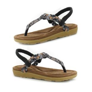 Ella Flori Toe Post Sandal with Elastic Strap in Black