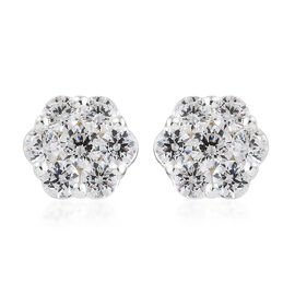 Super Auction- J Francis - Pressure Set (Rnd) Earrings (with Push Back) in Sterling Silver Made With SWAROVSKI ZIRCONIA