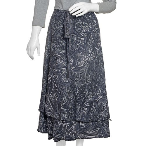 Designer Inspired - Black and White Colour Paisley Printed Maxi Skirt (Free Size)