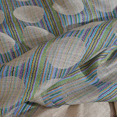 100% Cashmere Wool Beige, Blue and Multi Colour Circle Pattern Scarf with Fringes (Size 200X70 Cm)