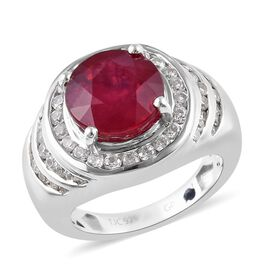 GP 7.35 Ct African Ruby and Multi Gemstone Halo Ring in Platinum Plated Sterling Silver