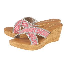 Lotus Perla Mule Wedge Sandals in Pink Colour