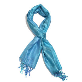SILK MARK - 100% Superfine Silk Sea Blue and Turquoise Colour Paisley Pattern Jacquard Jamawar Scarf with Fringes (Size 180x70 Cm) (Weight 125-140 Grams)