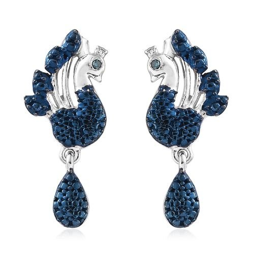 Designer Inspired- Blue Diamond (Rnd) Peacock Earrings (with Push Back) in Platinum and Blue Overlay Sterling Silver