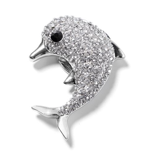 Austrian White and Black Crystal Dolphin Brooch with Magnet in Silver Tone