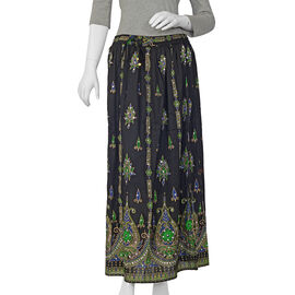 Sequin Embellished Black Colour Skirt (Free Size) - Length - 38 inches