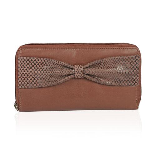 Italian Tan 100% Genuine Leather Bow Design RFID Blocking Clutch Wallet (Size 19x2.5x10 cm Large Pho