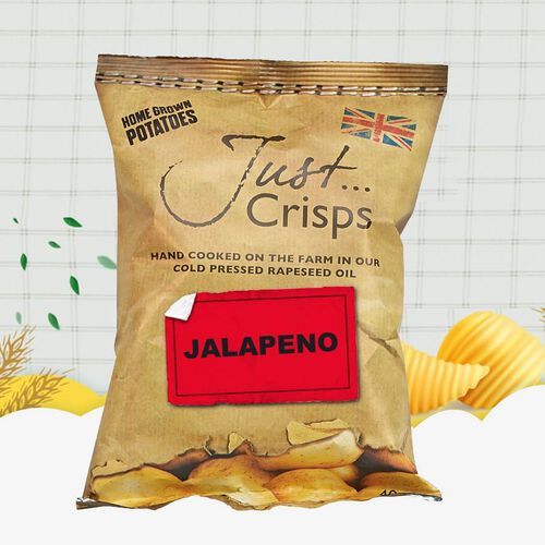Just Crisps 12 x 150g Spicy Big pack 4 Black Pepper, 4 Sweet Chilli, 4 Jalapeno