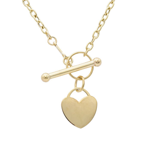 9ct yellow gold heart tbar necklace