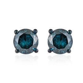 1 Carat Blue diamond Solitaire Stud Earrings in Sterling Silver SGL Certified I1-I2 GH