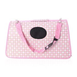 White and Pink Colour Check Pattern Pet Carrier with Zipper Size 45x28x20 Cm and Belt Size 100 Cm