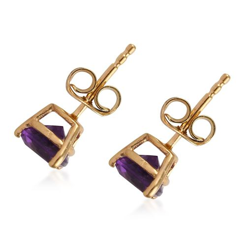 AA Amethyst (Tri) Stud Earrings (with Push Back) in 14K Gold Overlay Sterling Silver 1.250 Ct.