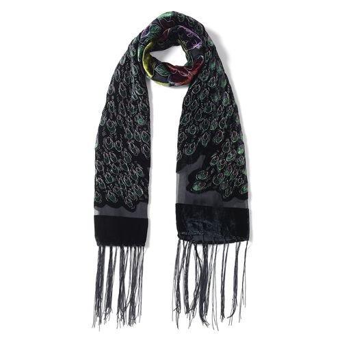 Designer Inspired- Black, Green and Multi Colour Peacock Pattern Scarf with Tassels (Size 160x50 Cm)