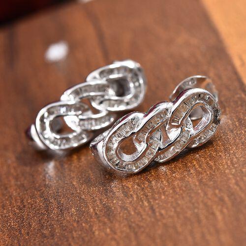 0.33 Ct Diamond Curb Link Hoop Earrings in Platinum Plated Silver