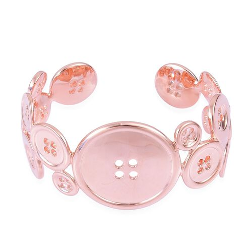 LucyQ Button Bangle (Size 7.25) in Rose Gold Overlay Sterling Silver 62.50 Gms.
