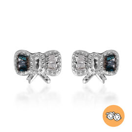 Blue and White Diamond Earrings for Children in Platinum Plated Silver