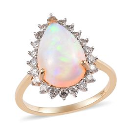 Cocktail Collection-9K Yellow Gold Ethiopian Welo Opal (Pear 14x10) and Diamond (Rnd 0.50 Cts) Ring