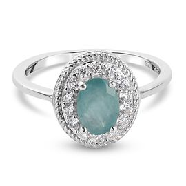 Grandidierite and Natural Cambodian Zircon Ring in Platinum Overlay Sterling Silver 1.15 Ct.