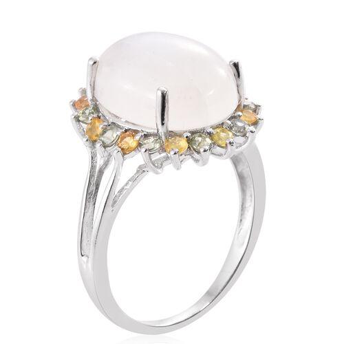 Sri Lankan Rainbow Moonstone (Ovl 10.85 Ct), Multi Sapphire Ring in Platinum Overlay Sterling Silver 12.000 Ct.