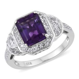 AAA Rare Size Lusaka Amethyst (Oct 3.30 Ct), White Topaz Ring in Platinum Overlay Sterling Silver 4.500 Ct.