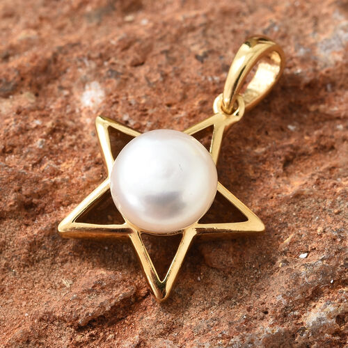 Freshwater Pearl (Rnd) Star Pendant in 14K Gold Overlay Sterling Silver