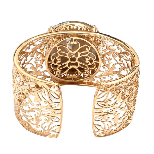 J Francis  - Crystal from Swarovski White Crystal (Rnd) Cuff Bangle (Size 7.5) in 14K Gold Overlay Sterling Silver, Silver wt 57.19 Gms.