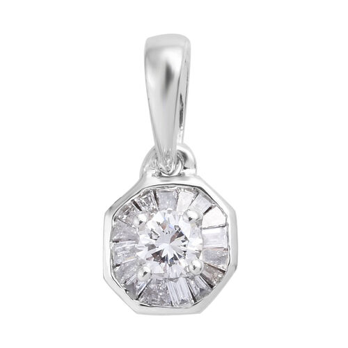 9K White Gold SGL Certified Diamond (Rnd and Bgt) (I3/ G-H) Pendant  0.25 Ct.