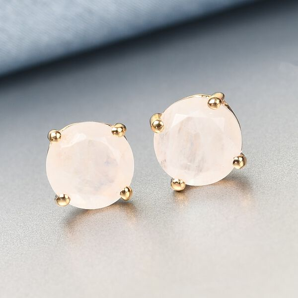 AA Rainbow Moonstone Stud Earrings (with Push Back) in 14K Gold Overlay Sterling Silver 2.47 Ct.