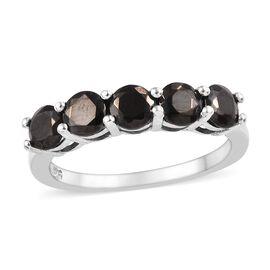 Elite Shungite (Rnd) Five Stone Ring in Platinum Overlay Sterling Silver