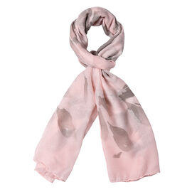 Pink Colour Leaf Pattern Scarf (Size 180x70 Cm)