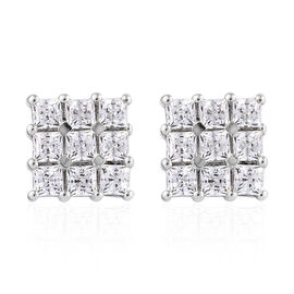 J Francis Platinum Overlay Sterling Silver (Princess) Earrings (with Push Back) Made with SWAROVSKI