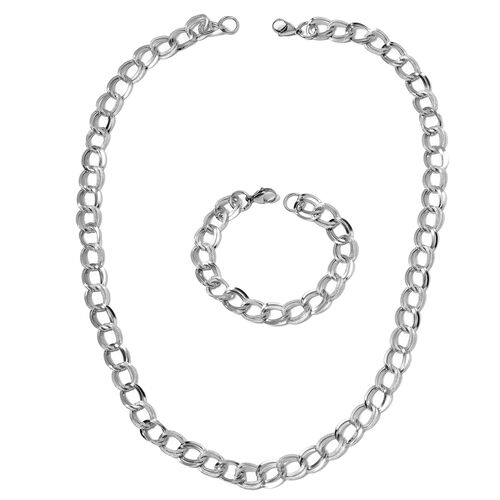 Stainless Steel Double Link Curb Necklace (Size 24) and Bracelet (Size 7.50) with Lobster Lock